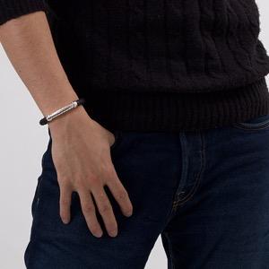 ボッテガヴェネタ (ボッテガ・ヴェネタ) バングル アクセサリー メンズ レディース イントレチャート ブラック&シルバー 172928 V5069 1000 BOTTEGA VENETA