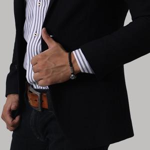 ボッテガヴェネタ (ボッテガ・ヴェネタ) ブレスレット アクセサリー メンズ イントレチャート ブラック 323759 VIAI3 1000 BOTTEGA VENETA