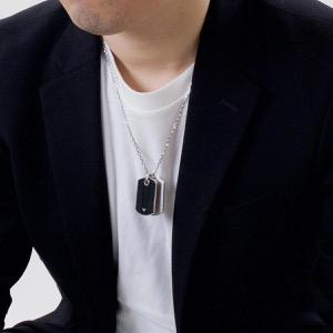 エンポリオアルマーニ ネックレス アクセサリー メンズ イーグルマーク シルバー&ブラック EGS1542040 EMPORIO ARMANI