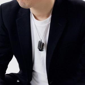 エンポリオアルマーニ ネックレス アクセサリー メンズ イーグルマーク シルバー&ブラック EGS1601040 EMPORIO ARMANI