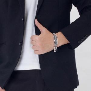 エンポリオアルマーニ ブレスレット アクセサリー メンズ イーグルマーク シルバー&グレー EGS1688040 19 EMPORIO ARMANI