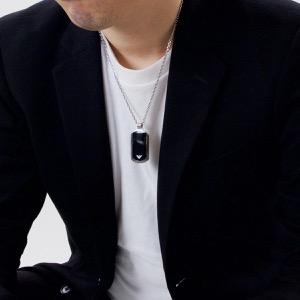 エンポリオアルマーニ ネックレス アクセサリー メンズ イーグルマーク シルバー&ブラック EGS1726040 EMPORIO ARMANI