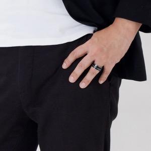 エンポリオアルマーニ リング【指輪】 アクセサリー メンズ イーグルマーク 23号 シルバー&ブラック EGS2032040514 205 EMPORIO ARMANI