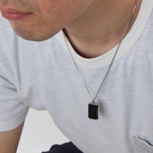 エンポリオアルマーニ ネックレス アクセサリー メンズ イーグルマーク プレート シルバー&ブラック EGS2228001 EMPORIO ARMANI