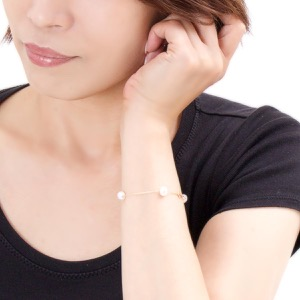ジュエリー ブレスレット アクセサリー レディース アコヤ花珠真珠 7ミリ 4粒 K18 パールホワイト&イエローゴールド DKBL10 YG JEWELRY