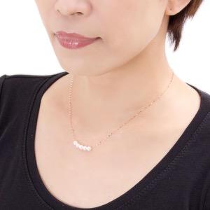 ジュエリー ネックレス アクセサリー レディース アコヤ花珠真珠 5ミリ 5粒 K18 パールホワイト&ピンクゴールド DKPN6 PG JEWELRY