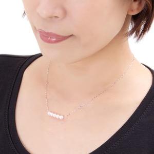 ジュエリー ネックレス アクセサリー レディース アコヤ花珠真珠 5ミリ 5粒 K18 パールホワイト&ホワイトゴールド DKPN6 WG JEWELRY