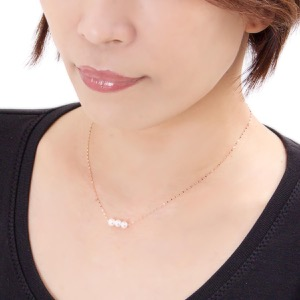 ジュエリー ネックレス アクセサリー レディース アコヤ花珠真珠 5ミリ 3粒 K18 パールホワイト&ピンクゴールド DKPN7 PG JEWELRY