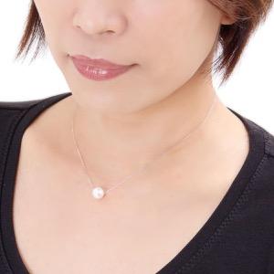 ジュエリー ネックレス アクセサリー レディース アコヤ花珠真珠 9ミリ 1粒 K18 パールホワイト&ホワイトゴールド DKPN9 WG JEWELRY