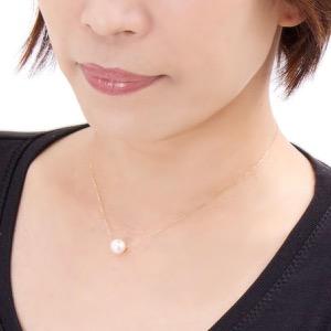 ジュエリー ネックレス アクセサリー レディース アコヤ花珠真珠 9ミリ 1粒 K18 パールホワイト&イエローゴールド DKPN9 YG JEWELRY