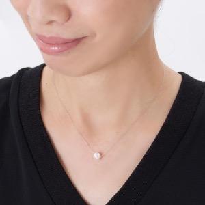 ジュエリー ネックレス アクセサリー レディース アコヤ花珠真珠 一粒 7-7.5mm K18 パールホワイト&ホワイトゴールド DN11347B WG JEWELRY