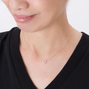 ジュエリー ネックレス アクセサリー レディース ダイヤモンド 12粒 0.2ct K18 サークル ハート クリア&ピンクゴールド DTP5166 PG JEWELRY