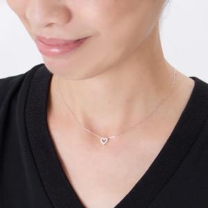 ジュエリー ネックレス アクセサリー レディース ダイヤモンド 12粒 0.2ct K18 サークル ハート クリア&ホワイトゴールド DTP5166 WG JEWELRY