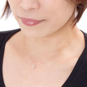ジュエリー ネックレス アクセサリー レディース ダイアモンド 0.2カラット 10粒 K18 クロス クリア&ピンクゴールド DTP5168 PG JEWELRY