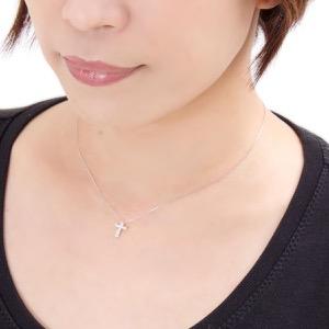 ジュエリー ネックレス アクセサリー レディース ダイアモンド 0.2カラット 10粒 K18 クロス クリア&ホワイトゴールド DTP5168 WG JEWELRY