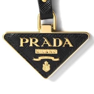 プラダ キーリング/キーホルダー アクセサリー レディース サフィアーノ 三角ロゴプレート ブラック&ゴールド 1PP128 053 F0002 2021年春夏新作 PRADA