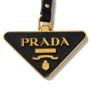 プラダ キーリング/キーホルダー アクセサリー メンズ レディース サフィアーノ トイズ 三角ロゴプレート ブラック 1TL380 2EWR F0002 PRADA