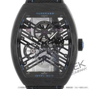 フランクミュラー ヴァンガード 7デイズ パワーリザーブ スケルトン 腕時計 メンズ FRANCK MULLER V 45 S6 SQT CARBON BL