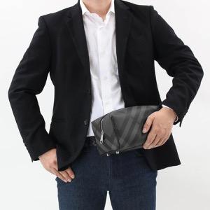 バーバリー ウォッシュバッグ/セカンドバッグ バッグ メンズ ロンドンチェック チャコールグレー&ブラック 8006070 A1018 2019年春夏新作 BURBERRY