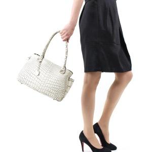 本革 ハンドバッグ/トートバッグ バッグ レディース クロコ バニラホワイト CRB139 VAN Leather