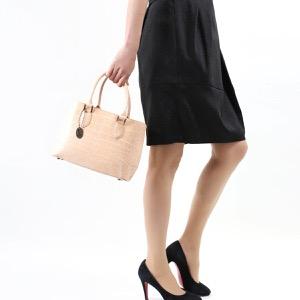 本革 ハンドバッグ/ショルダーバッグ バッグ レディース クロコ ピンクベージュ&ホワイト CRB312 BEWH Leather