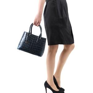 本革 ハンドバッグ/ショルダーバッグ バッグ レディース クロコ ブラック&ネイビーブルー CRB312 BKNV Leather