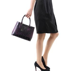 本革 ハンドバッグ/ショルダーバッグ バッグ レディース クロコ ブラック&パープルピンク CRB312 BKPK Leather