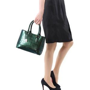 本革 ハンドバッグ/ショルダーバッグ バッグ レディース クロコ ブルー&グリーン CRB312 BLGR Leather
