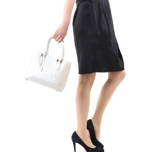 本革 ハンドバッグ/ショルダーバッグ バッグ レディース クロコ パールホワイト CRB312 PWHT Leather