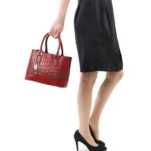 本革 ハンドバッグ/ショルダーバッグ バッグ レディース クロコ レッド&ブラック CRB312 RDBK Leather