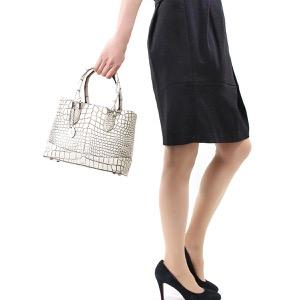 本革 ハンドバッグ/ショルダーバッグ バッグ レディース クロコ バニラホワイト CRB312 VAN Leather