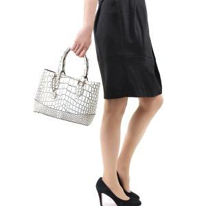本革 ハンドバッグ/ショルダーバッグ バッグ レディース クロコ ホワイト&ブラック CRB312 WHBK Leather