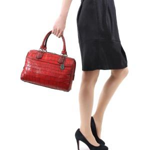 本革 ボストンバッグ/ハンドバッグ/ショルダーバッグ バッグ レディース クロコ レッド&ブラック CRB313 RDBK Leather