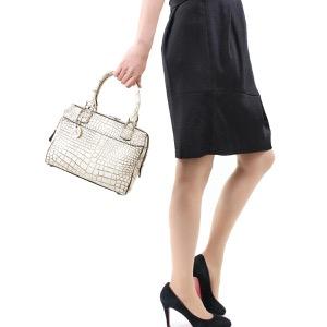 本革 ボストンバッグ/ミニバッグ/ショルダーバッグ バッグ レディース クロコ バニラホワイト CRB314 VAN Leather