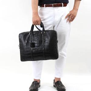 本革 ビジネスバッグ/ショルダーバッグ バッグ メンズ クロコ ブラック CRB315 BLK Leather