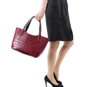 本革 トートバッグ バッグ レディース クロコ アンティークボルドー CRB504 ANBO Leather