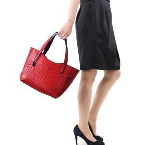 本革 トートバッグ バッグ レディース クロコ レッド&ブラック CRB504 RDBK Leather