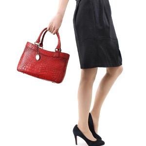 本革 ハンドバッグ バッグ レディース クロコ レッド&ブラック CRB507 RDBK Leather