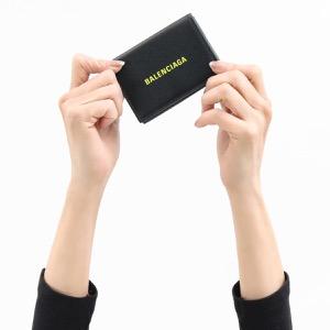 バレンシアガ 三つ折り財布/ミニ財布 財布 メンズ レディース ブラック&フルゥアレェスンスジョーヌイエロー 594312 1IZF3 1072 BALENCIAGA