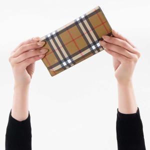 バーバリー 長財布/三つ折り財布 財布 メンズ レディース ケントン ヴィンテージチェック アンティークイエローベージュ&ブラック 4073139 00100 BURBERRY