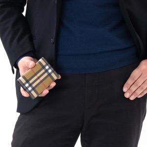 バーバリー カードケース/名刺入れ メンズ レディース フリント ヴィンテージチェック アンティークイエローベージュ&ブラック 4074466 00100 BURBERRY