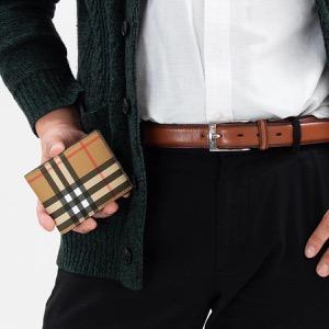 バーバリー 二つ折り財布【札入れ】 財布 メンズ ヴィンテージチェック ブラック 4074490 00100 2018年秋冬新作 BURBERRY