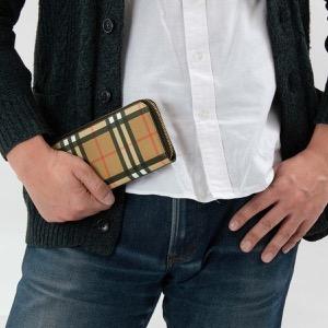 バーバリー 長財布 財布 メンズ レディース エレビー ヴィンテージチェック アンティークイエローベージ&ブラック 8005387 A1189 BURBERRY