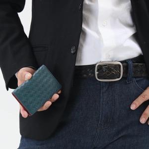 ボッテガヴェネタ (ボッテガ・ヴェネタ) カードケース/クレジットカードケース メンズ イントレチャート ブライトンブルー&バッカラローズレッド 464902 V465U 4511 BOTTEGA VENETA