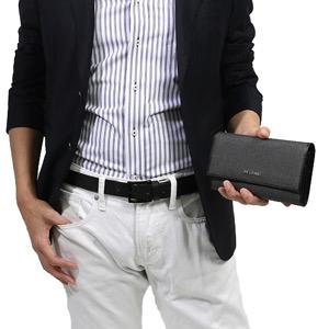 ブルガリ 長財布 財布 メンズ ウィークエンド レザー グレー&ブラック 32585 BVLGARI