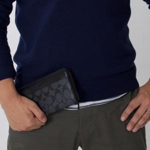 コーチ 長財布 財布 メンズ アコーディオン シグネチャー チャコールグレー&ブラック F58112 CQBK COACH