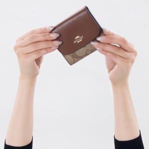 コーチ 三つ折り財布 財布 メンズ レディース シグネチャー スモール カーキ&サドルブラウン F87589 IME74 COACH