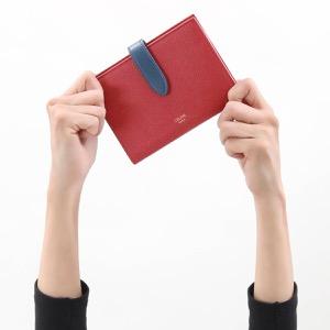 セリーヌ 二つ折り財布 財布 レディース ミディアム ストラップ バイカラー ラズベリーピンク&ペトルブルー 10B64 3BRU 25RP 2020年春夏新作 CELINE