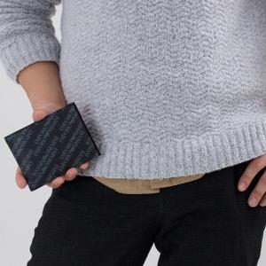 エンポリオアルマーニ 二つ折り財布 財布 メンズ P.CON PORTA MONETA LETTERI ブラック&ボードグレー Y4R165 YLO7E 86526 EMPORIO ARMANI