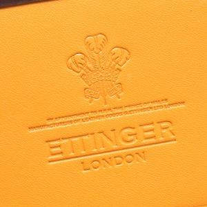 エッティンガー カードケース/名刺入れ メンズ ブライドル ナッツブラウン&パネルハイドイエロー 143JR BH NUT ETTINGER